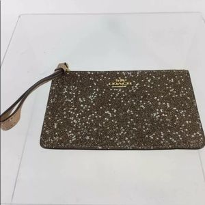 COACH Leather Gold Star Sparkle Top Zip Wristlet